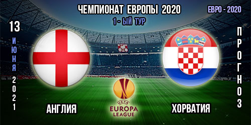 Англия – Хорватия. Прогноз. 1-ый тур. Евро 2020.